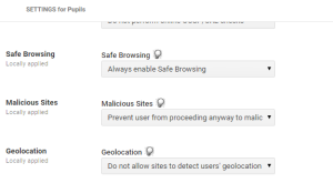 Enforce Safe Browsing, Block Malicious sites and geolocation