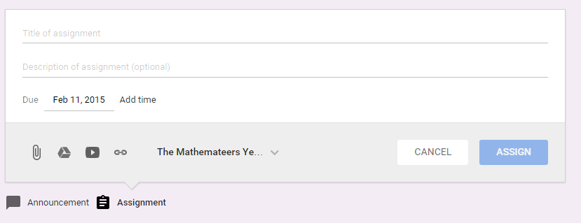 The assignment screen on Google Classroom